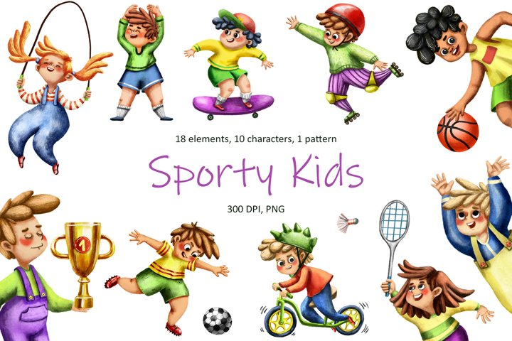 Sporty Kids - Clip Art Set