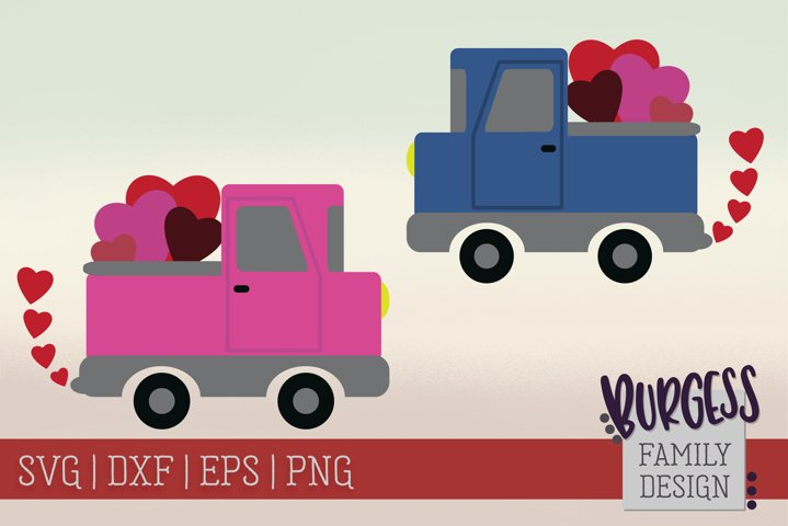 Valentines Day Truck Pink & Blue | Cuttable & Printable