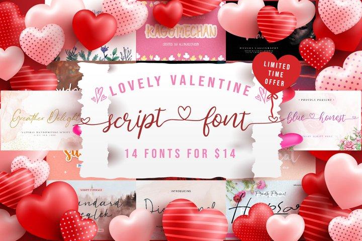 Lovely Valentine Script Font Bundle