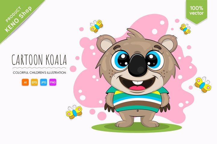 Cartoon koala in a striped T-shirt