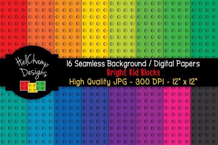 16 seamless Digital Papers - Bright Kids Blocks- HC037