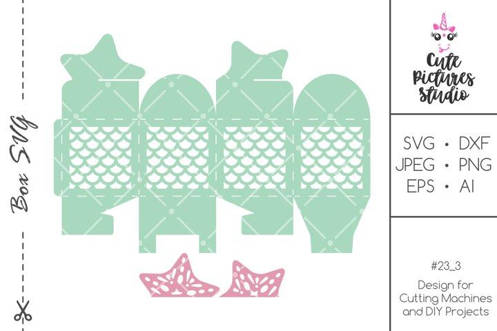 Mermaid Party Favor Box SVG template, Mermaid gift box svg