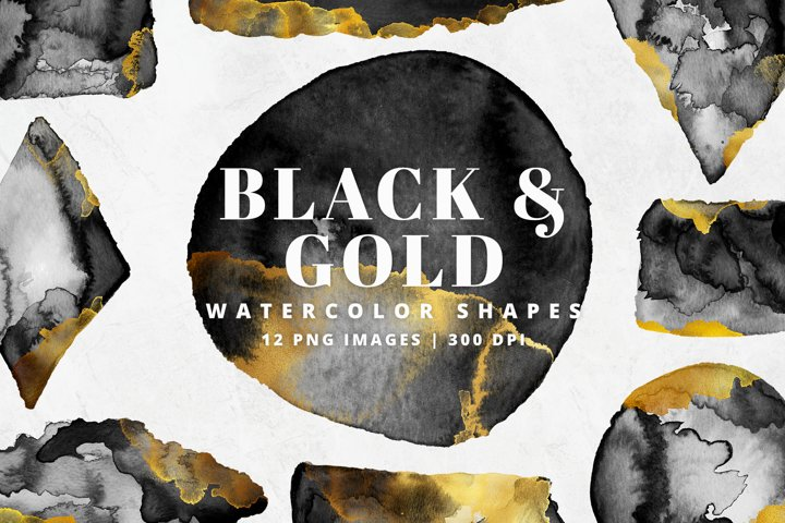 Black & Gold Watercolor Shapes | 12 Pc