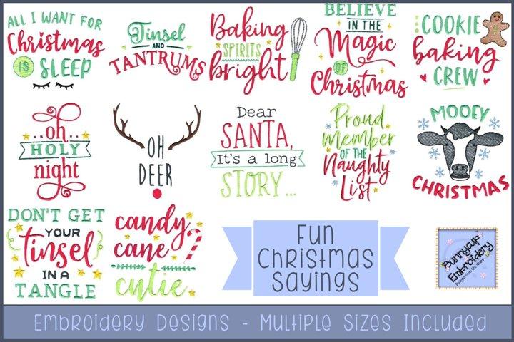 Fun Christmas Sayings | Christmas Embroidery Designs
