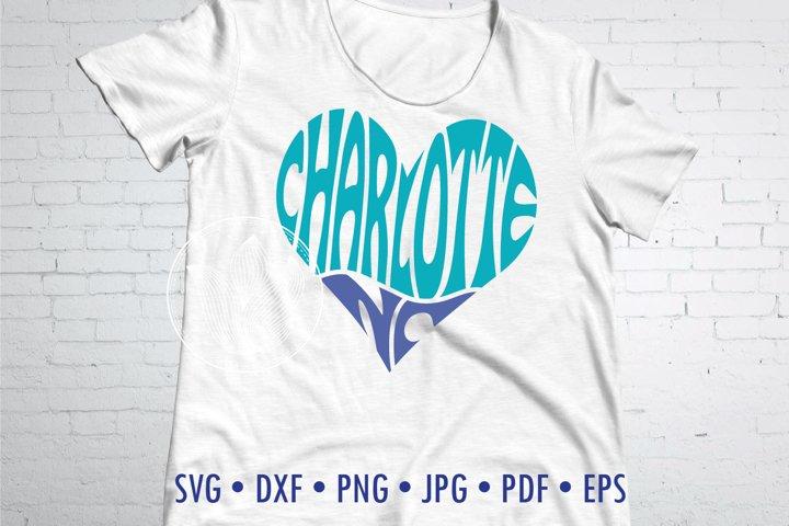 Charlotte NC word art heart
