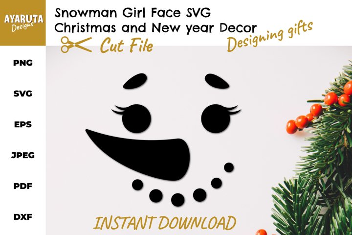 Snowman girl face SVG, Christmas New Year Winter Gift SVG