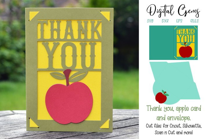 Thank you card and envelope design SVG / DXF / EPS files