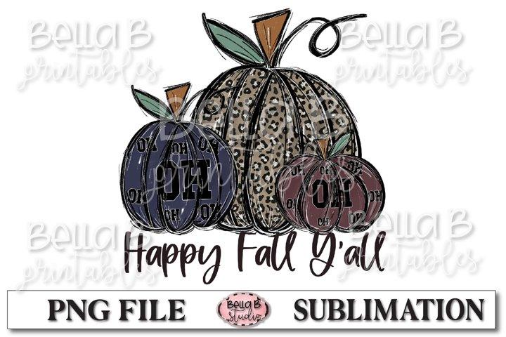 Ohio Fall Pumpkins Sublimation Design