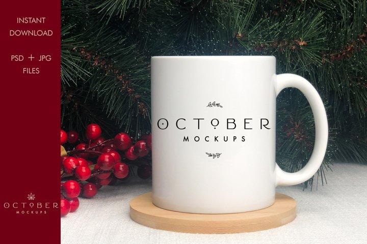 Christmas Mug Mockup   Winter Mug Mockup with smart object