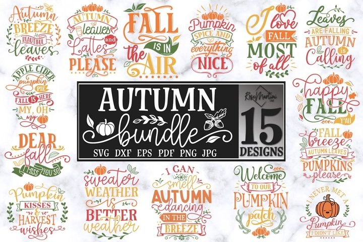 Autumn Bundle Of 15 Designs SVG PNG Fall SVG Autumn SVG