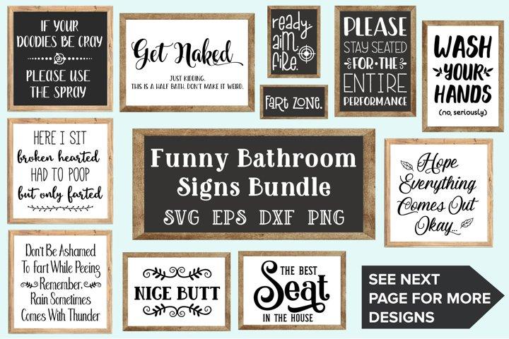 Bathroom Signs Bundle - SVG, EPS, DXF, PNG