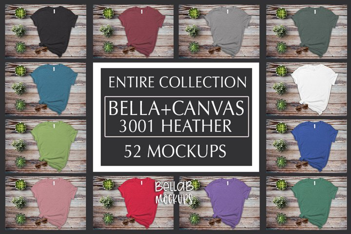 Bella Canvas T Shirt Mockup Bundle, Heather 3001