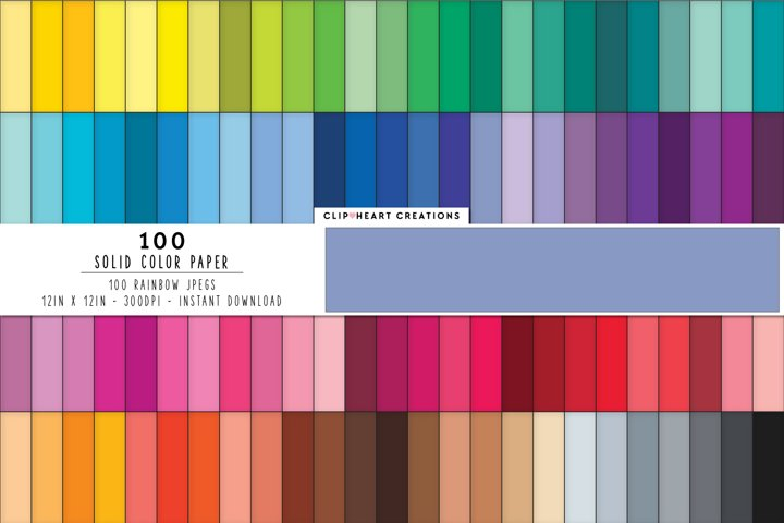 100 Solid Color Digital Papers - rainbow colors 12 x 12in