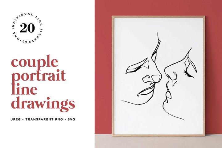 Abstract Couple Portrait Line Art