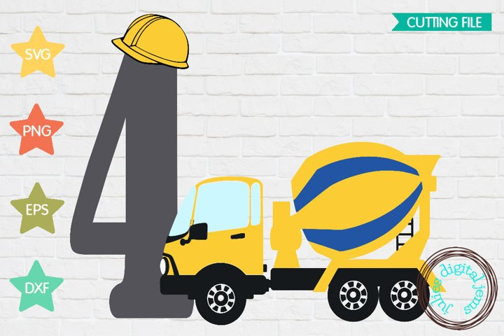 Cement Truck SVG, Construction birthday, 2nd Birthday SVG