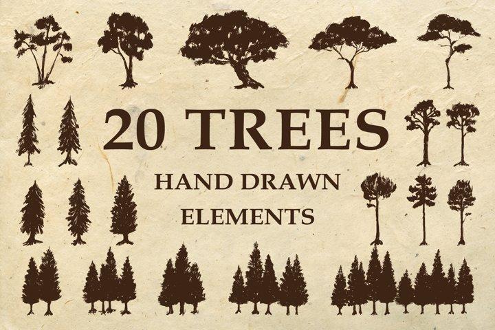 Hand Drawn Trees Silhouette Illustration