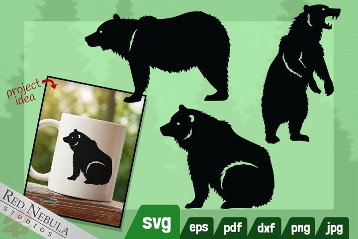 Grizzly Bear SVG Set  3 Realistic Brown Bear Silhouettes