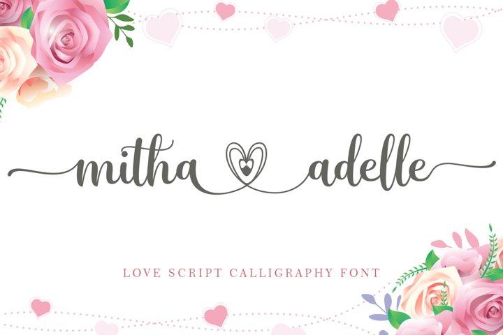 mitha adelle love script calligraphy font