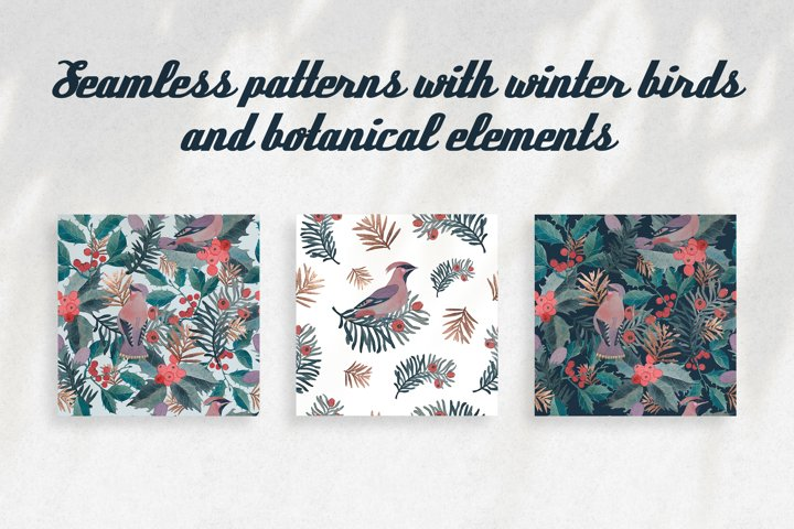 Seamless watercolor pattern with winter waxwing and holly