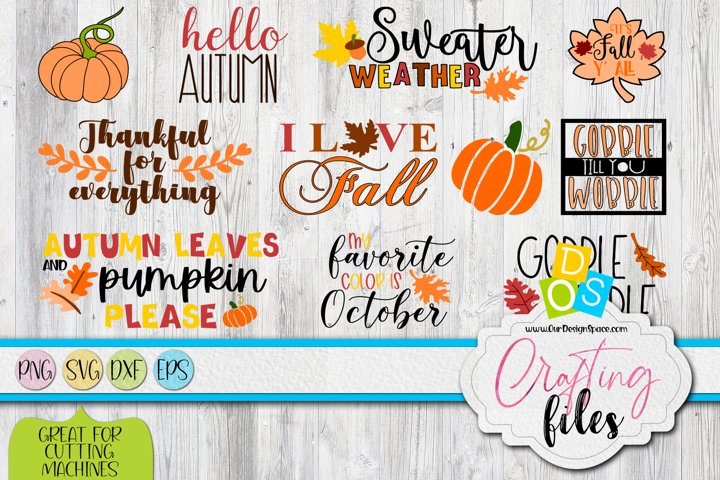 Autumn SVG, DXF, EPS and PNG bundle