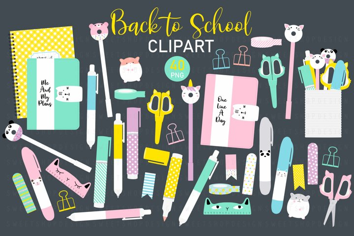 Back To School Clip Art, School Supplies Clipart