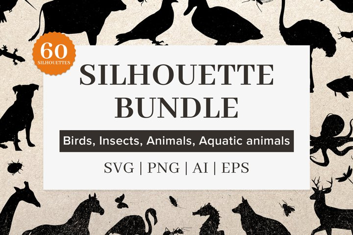 Animal silhouettes, bird silhouettes, silhouettes bundle