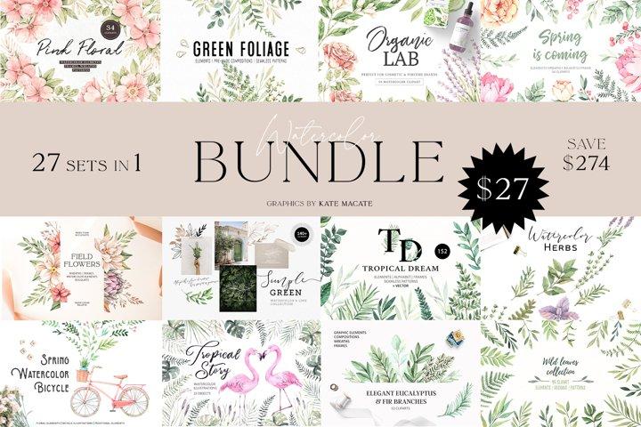 Floral bundle   Watercolor SUPER SALE   27 sets in 1