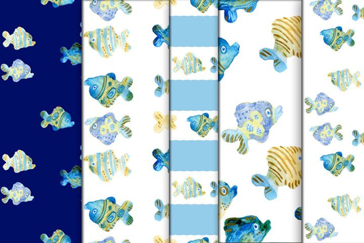 Fish watercolor patterns