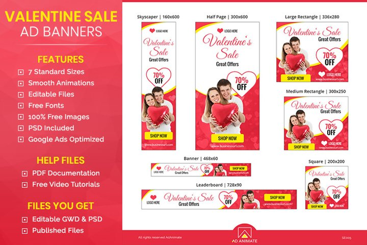 Valentines Day Sale Animated Ad Banner Template