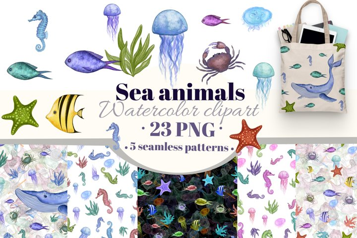 Sea animals watercolor clipart. Under the sea digital paper.
