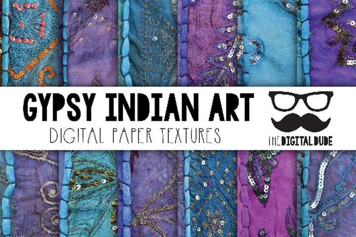 Gypsy Indian Fabric Art - Digital Papers Set of 12 Images