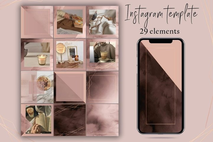 Rose gold instagram template.Beige and gold instagram