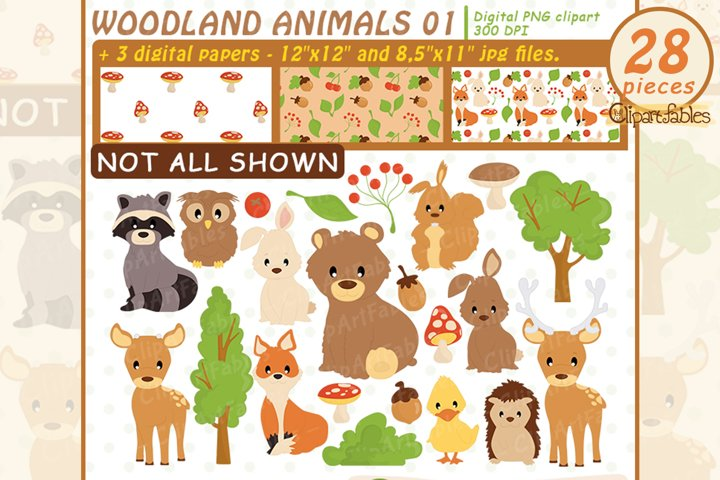 WOODLAND ANIMALS, Cute animals clipart and 3 DIGITAL PAPERS