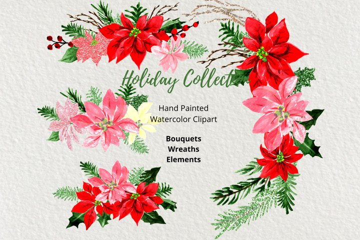 Christmas Watercolor Clipart, Christmas Wreaths Bouquets