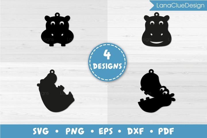 4 Hippo Earrings SVG