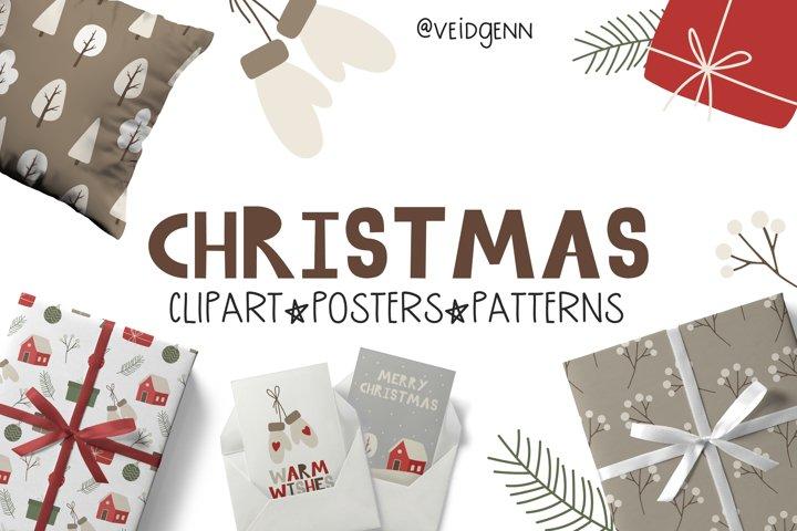 Christmas clipart set - 36 cozy winter elements