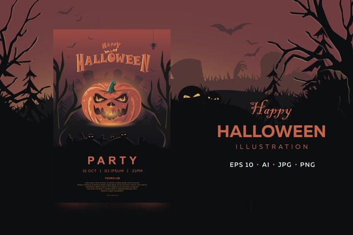 Halloween banner. Invitation with holiday symbol - pumpkin.