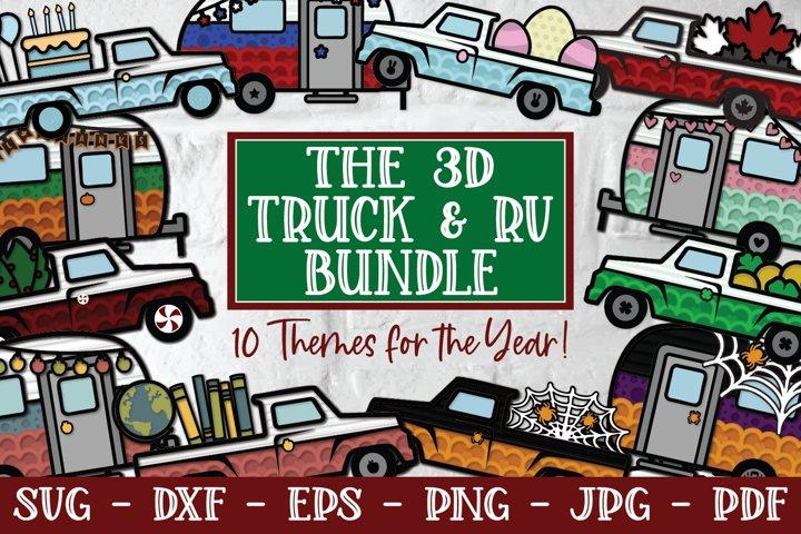 3D Truck and RV Bundle, Easter Truck, Papercut SVG, Vintage
