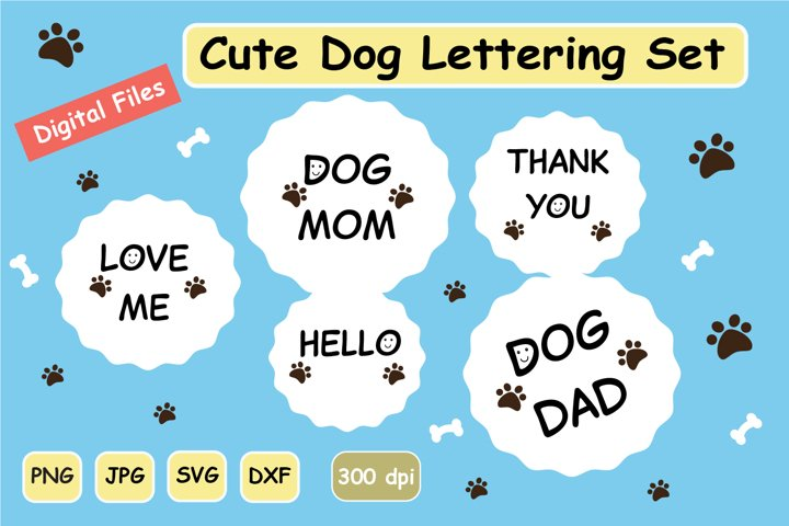 Cute Dog Lettering SVG Clipart Digital Graphic Set