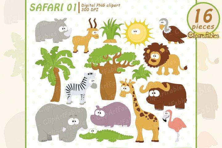 SAFARI clipart, Cute animals clip art - INSTANT download