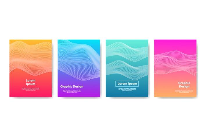 Cover set design. full color wave line design