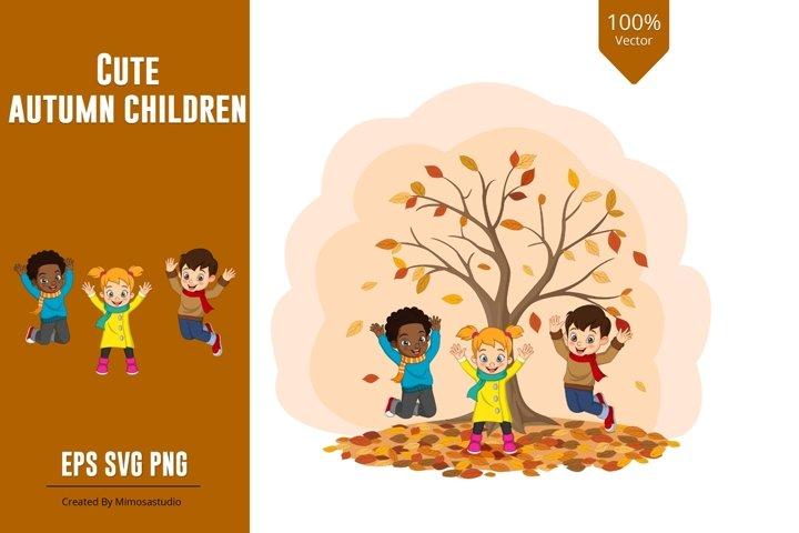 Cute Autumn Kids Clipart