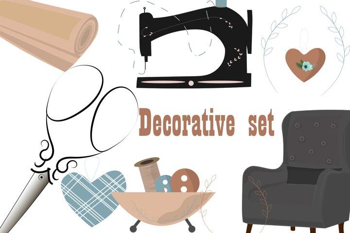 Decorative set for home seamstresses.