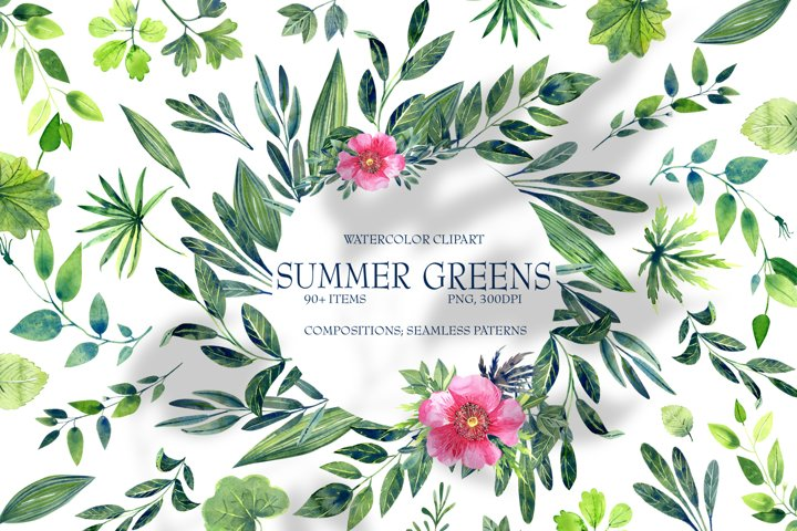 Watercolor SUMMER GREEN Clip Art
