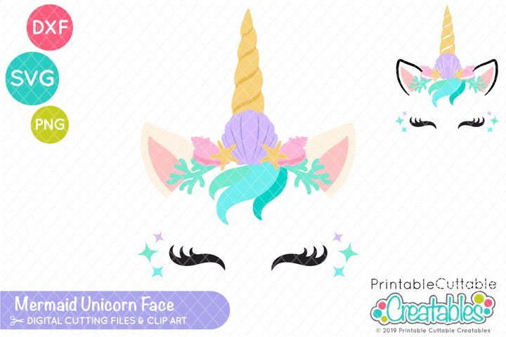 Mermaid Unicorn Face SVG