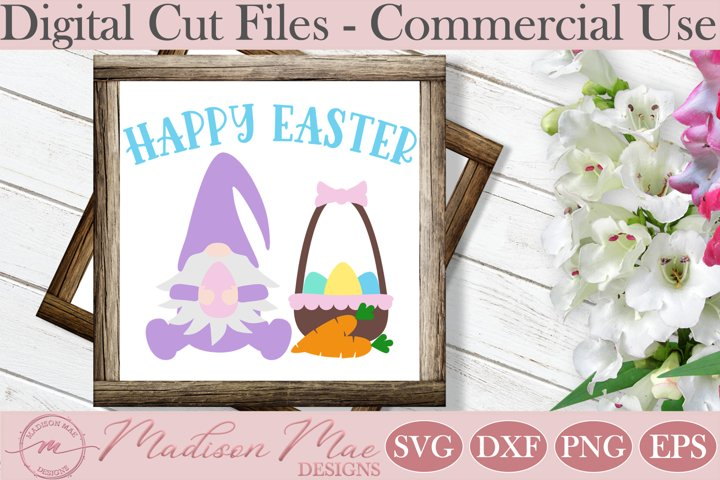 Happy Easter Gnome With Basket SVG, Easter Cut File