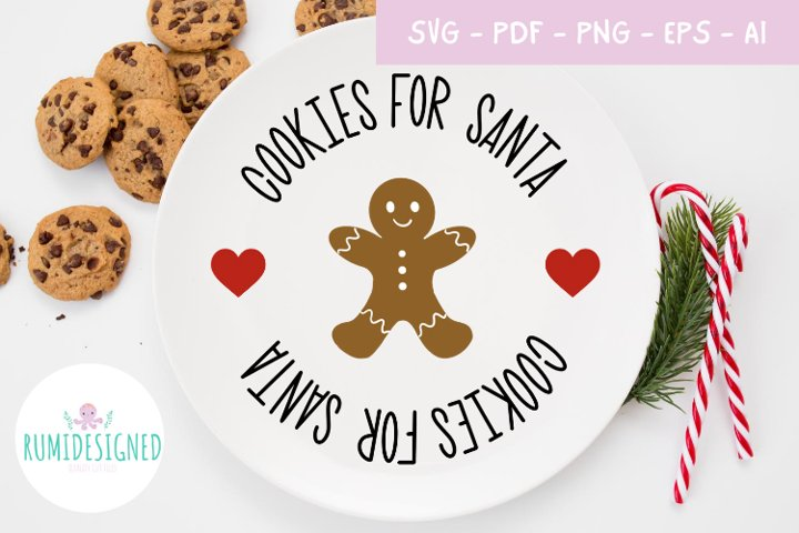 Christmas Cookies For Santa Plate Svg Cut File