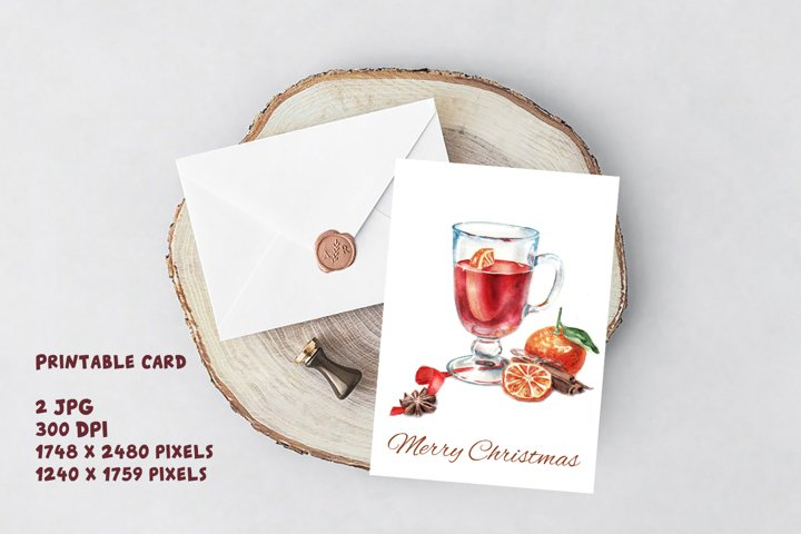 Merry Christmas Mulled wine Spice Watercolor christmas
