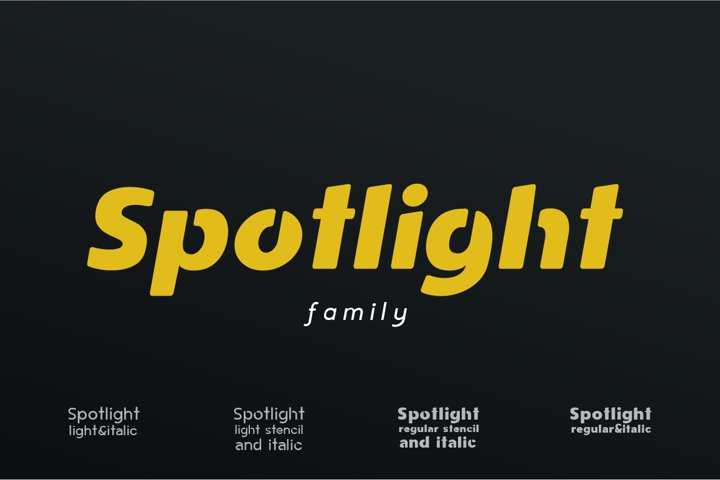 Spotlight - Sans Serif Font Family with optional Stencils