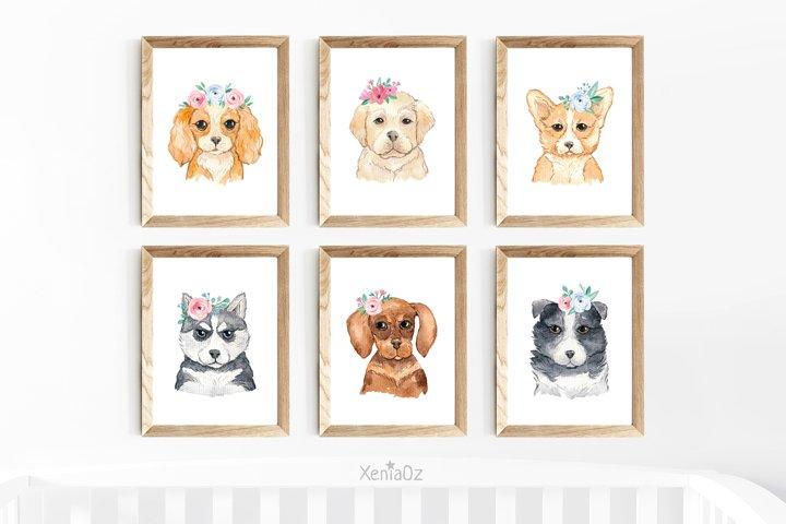 Set of 6 Watercolor Puppy Prints, Nursery Wall Decor